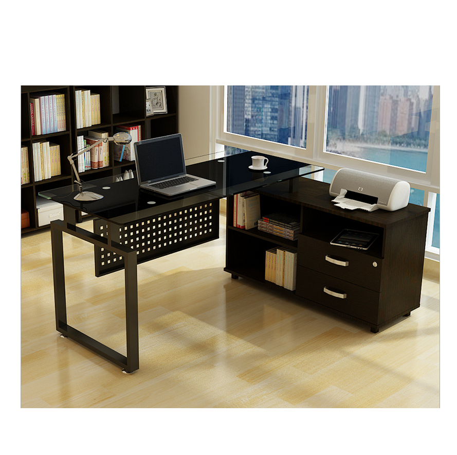 new styles e47a1 12fb1 Office Computer Table Desk With Glass Top And Drawer Bookshelf - Buy Glass  Table,Computer Table,Cheaper Computer Desk Product on Alibaba.com