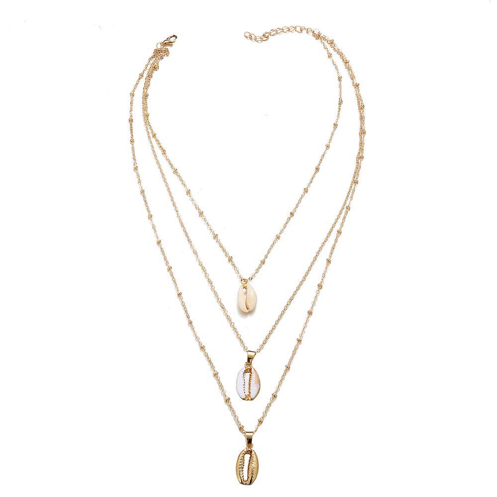 53028f6781fb De moda Hotsale 3-capa de la naturaleza shell colgante collar de oro joyas  de