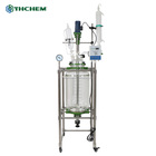 FREE-SHIPPING Customizable double layer high borosilicate 50l jacketed glass reactor