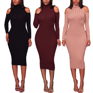 Wholesale Bulk Women's Clothing Fashion Knit Long Sleeve Sexy Cold Shoulder Women Bodycon Dress 2019