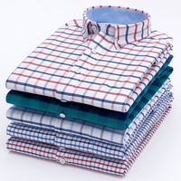Custom Men Fancy fashion breathable cotton long sleeve check collar shirt for men
