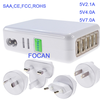 KC US EU UK AU 5V 7A 4 port USB Travel home Charger multi port usb charger 35W
