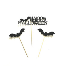 3 pcs Happy Halloween Pipistrello Nero A Forma di Torta Topper per Hallowmas Baby Shower Festa di Compleanno Del Bigné Della Decorazione Commercio All'ingrosso