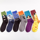 Sen Hao factory direct trend cotton men's tube socks crazy oil painting series men's socks