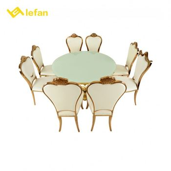 Dining Round Glass Table And Chair Set