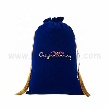 High Quality Custom Large Velvet Organizer Travel Bag Cosmetic Drawstring Pouch with tassel