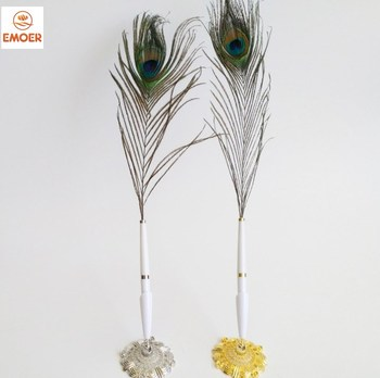 Novelty Special Design Office Advertising Signature Plastic Gift Pen Promotion Luxury Peacock Feather Plastic Ball Pen