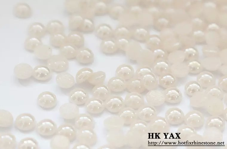 LanLee0806--- Top quality 3mm 5mm 6mm ivory color half round hot fix pearl for nail art wholesale,transfer epoxys,iron on pearls
