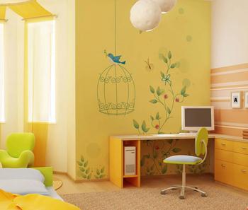 Style Moderne Un Oiseau Debout Sur La Cage Conception Papier Peint Rouge Fleurs Et Feuilles Vertes Peintures Murales Papier Peint Pour La Décoration