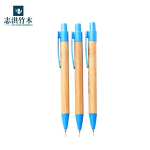 Customized logo gift bamboo pencil and pen bamboo pen set