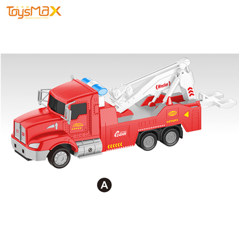 1:46 Scale US Popular Pull Back Metal Rescue Truck Toys Transportation Engineering Battery Operated Diecast Model Toy