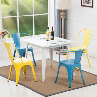 Best Sell Foshan Furniture Powder Coated Restaurant Chair And Table Metal Dining Chairs