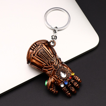 movie best sell cartoon custom manufacture cheap metal alloy thanos glove keychain
