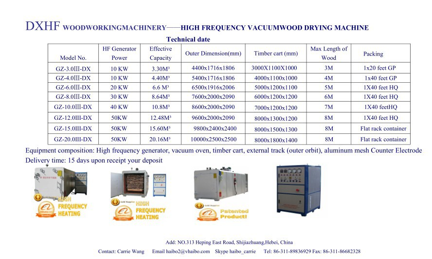 High frequency vacuum chamber for wood drying