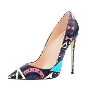 Sex High Heels Pumps Woman New Party Purple Printed Stiletto Shallow Women Shoes 10cm/12cm Thin Heels Brand Sandals