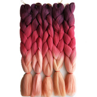 "Pervado Hair 24"" Long Ombre Synthetic Braiding Hair Crochet Blonde Pink Blue Grey Hair Extensions Jumbo Braids Bulk"