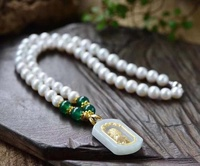 Wholesale hot selling natural pearl necklace Emerald jade pendant
