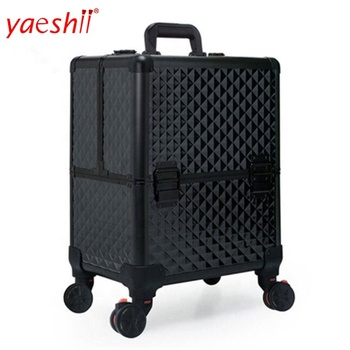 Yaeshii 2019 professional Large capacity Aluminum frame Rolling beauty Cosmetic Case Makeup tool with wheel Trolley Luggage