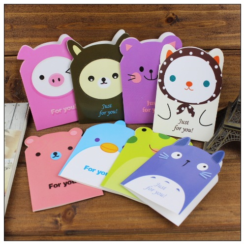 Creative 3D Cartoon Animal Greeting Cards With Envelopes For