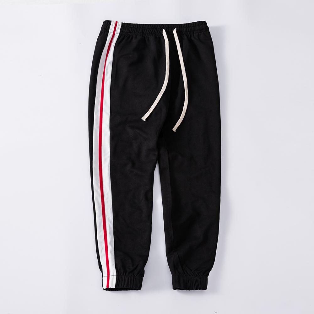 الجملة مخصص فارغة الرياضة شريط الرجال السراويل الترنك الأولاد ركض مدبب الأسود sweatpants