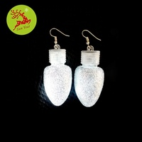 Christmas party favor LED single bulb pendant earring with glitter powder