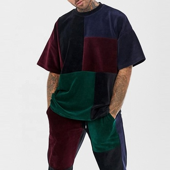 Custom Men Clothing 2019 Mixed Color Crew Neck Cut And Sew Oversized Velour T Shirt