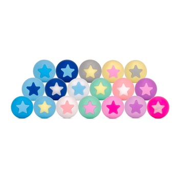 2019 New Design Silicone Teething Pendant Chewing Baby silicone beads with star