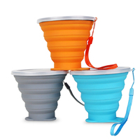 Amazon Top Seller 2019 FDA LFGB Food Grade Silicone 240ml Foldable Portable Mini Leisure Outdoor Sports Water Bottle Cups
