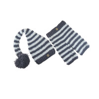 Fashionable Newborn Baby Photo Shoot Props Girl Boy Crochet Knit Hat Costume Stripe Hat Pants Overalls Photography Props
