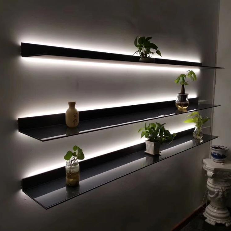 Italy Minimalist Wall Mounted LED light <strong>shelves</strong> L Shape Aluminum <strong>Shelf</strong> for Living Room, Kitchen,Office wall