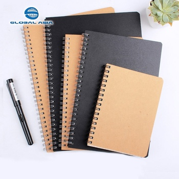 Promotional school supplies exercise kraft notebook cheap custom recycled paper logo printed fancy spiral note book