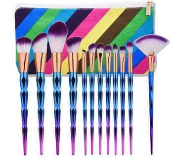 Soft wholesale diamond handle cosmetic set custom logo make up brush with box