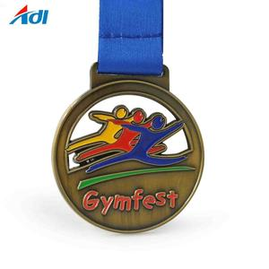 Factory custom your logo gymfest sports antique metal medals
