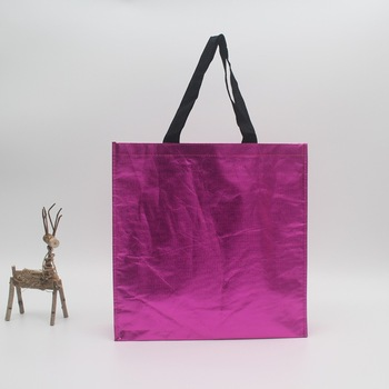 Free Sample eco rose metal laminated grocery non woven fabric tote bag