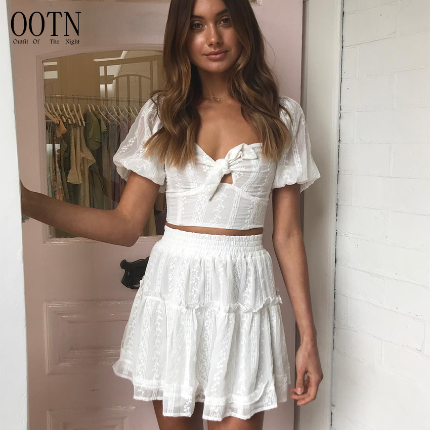 OOTN Casual Summer Puff Sleeve Blouse Two Piece Set Suit Chiffon White Crop Top High Waist Ruffle Skirt Female 2 Piece Set <strong>Women</strong>