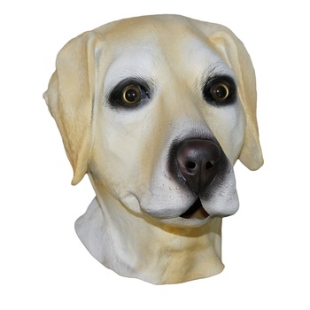 Realistic Open Mouth Latex Animal Golden Dog Head Labrador Mask