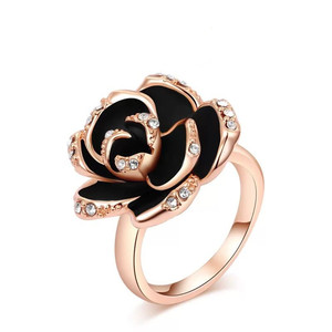 Hot style crystal rose ring with diamond black rose ring for ladies jewelry Crystal Rose Gold With Diamonds Black Rose Ring