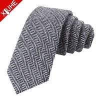 custom herringbone pattern grey mens skinny wool tie