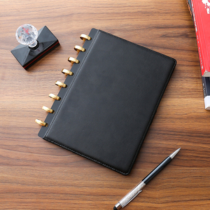 loose-leaf Professional PU Leather Note Book Portfolio 6 DISC Binder A5 with Custom Logo