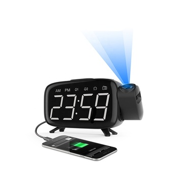 Digital LED 180 Degrees Projector Alarm Desk Clock Projection FM Radio Table Clock With USB Charger