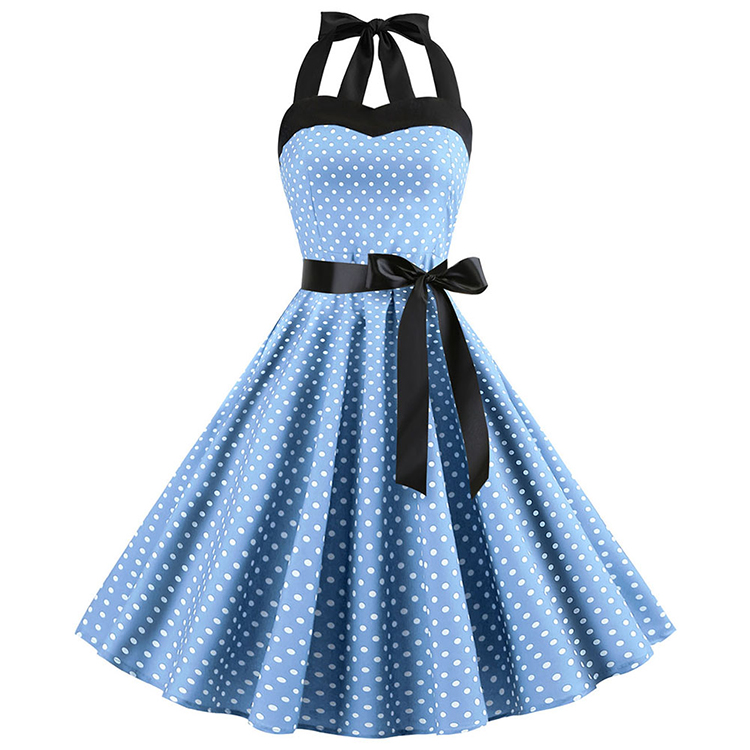 Absorbing Light Blue Polka Dot Print Bandeau Women Fashionable <strong>Dress</strong> Online <strong>Shop</strong>