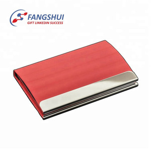 China supplier custom logo metal business card case blocking pu leather aluminum business card holder case