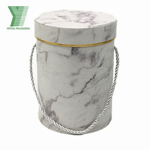 Marble Luxury White Pink Round Florist Acrylic Flower Box