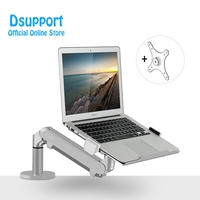 "Dual use for Monitor Holder and laptop Desk Stand OZ-1S Adjustable Single Arm Gas Spring TV Mount Fits Up to 32"" LCD Monitor"