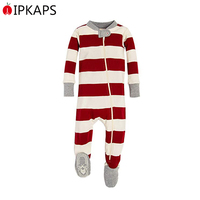 Striped Organic Cotton Footed Sleepwear for Baby Boys Unisex Pajamas wih Zip-Front Non-Slip Kids One Piece Pajama