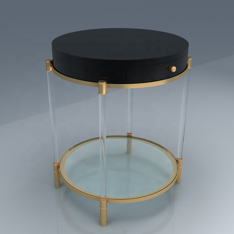 custom round black color two tiers acrylic coffee table