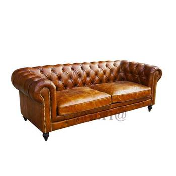 High End Luxury Multi Colors Living Room Furniture Antique Brown Leather Upholstered Chesterfield Sofa