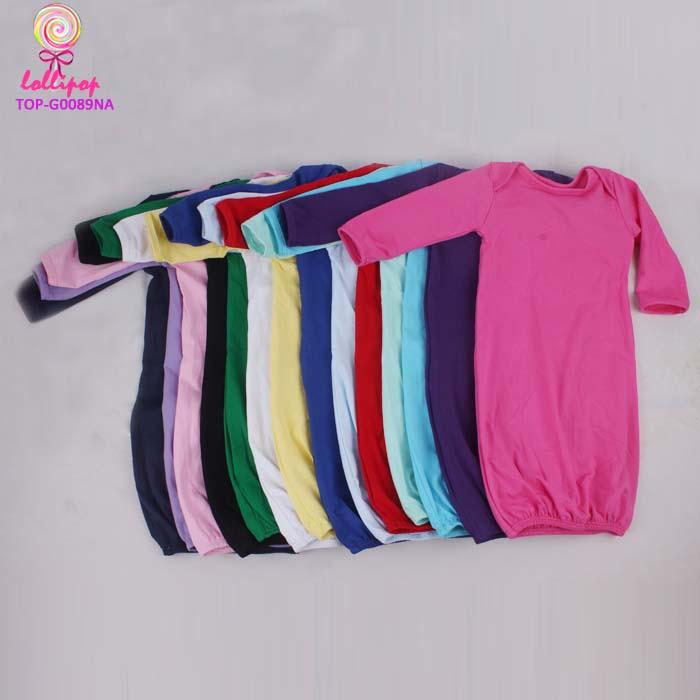 b18196810 Wholesale Baby Clothes Plain pajamas gown Suit Children multicolor Long  Sleeve Kid Maxi sleepwear Gowns