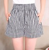 Women Shorts Pants Office Lady Loose Black White Striped Shorts Ladies High Waist Casual Wide Leg Short Pants