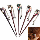 2019 Cheap Wholesale Most Welcomed Rhinestone Flower Hairgrip Vintage Wooden Hair Stick Pin